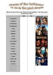 English Worksheet: SIMPLE PAST WITH THE PIRATES OF THE CARIBBEAN