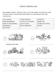 English Worksheets: SARA�S TYPICAL DAY (DAILY ROUTINES)