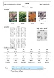 English Worksheet: Seasons, Months and days of the week