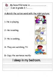 English Worksheets: A-Match the action word with the right picture: