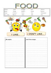 English Worksheet: FOOD I LIKE