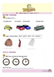 English Worksheets: Mr Bean Goes to Town 1