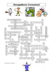 English Worksheet: Crossword: Occupations
