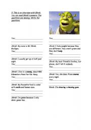 English Worksheet: Interview  - Shrek