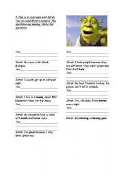English Worksheets: Interview  - Shrek