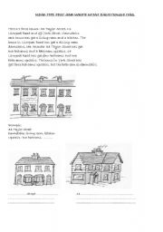 English Worksheets: THREE HOUSES (READING COMPREHENSION)