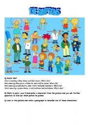 English Worksheet: the simpsons description