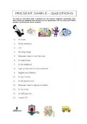 English Worksheets: Questions in the present simple