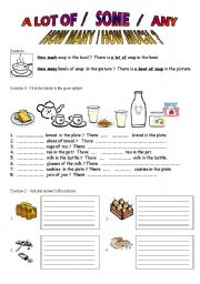 English Worksheet: Quantities