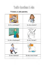 English Worksheets: yes/no questions & jobs