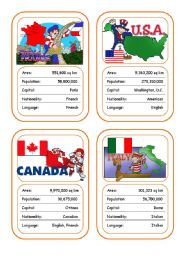 English Worksheet: Countries Card Game (Part 1 out of 4)