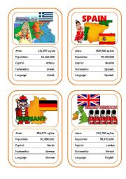 English Worksheet: Countries Card Game (Part 2 out of 4)