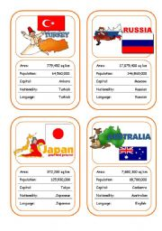 English Worksheet: Countries Card Game (Part 3 out of 4)