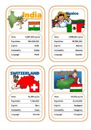 English Worksheet: Countries Card Game (Part 4 out of 4)