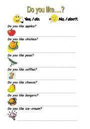 English Worksheet: Do you like...? Short answers.