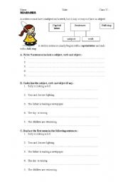 English Worksheets: writing sentences with subject+verb and object