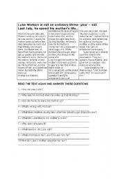 English Worksheets: Luke Watson a Three year old boy who saved his Mom