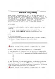 English Worksheets: Persuasive Writing Organizer