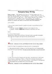 English Worksheet: Persuasive Writing Organizer