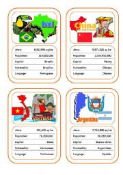 English Worksheet: Countries Card Game (Part 5 - additional)