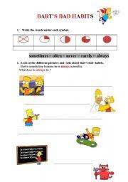 English Worksheet: BART�s BAD HABITS