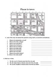 English Worksheet: Prepositions of place-places in town-giving directions