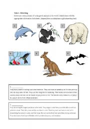 English Worksheet: endangered animals- reading exercise