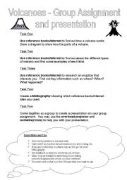 English Worksheet: Volcanoes - Group assignment