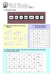 English Worksheets: wall words