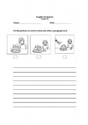 English Worksheets: picture sequencing composition
