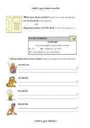 English teaching worksheets: Telephone numbers