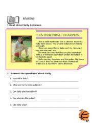 English Worksheet: Teen Basketball Champion - Reading