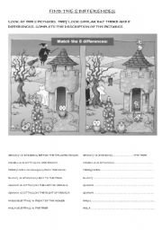 English Worksheets: FIND THE DIFFERENCES (PREPOSITIONS WORKSHEET)