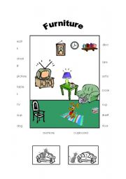English Worksheet: Furniture - living room and prepositions