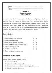 English Worksheets: Mark and John