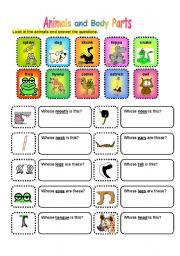 English Worksheet: ANIMALS AND BODY PARTS