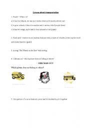 English teaching worksheets: The transports