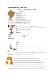 English Worksheets: animals� description. Pets