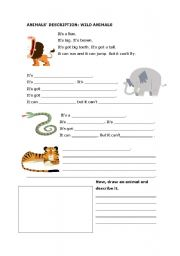 English Worksheets: Animals� description: wild animals