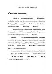 English worksheet: The definite article