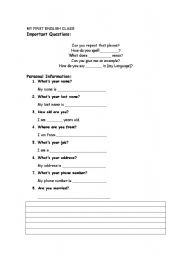 English Worksheets: First English Class