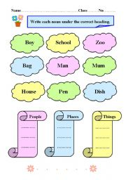 English Worksheets: Common noun vocabulary