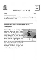 English Worksheet: Extreme Sports Reading Comprehension