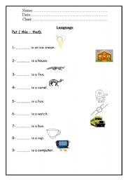English Worksheets: This That