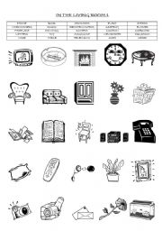 English Worksheet: IN THE LIVING ROOM :  MATCHING EXERCISE (PART 1/2 )
