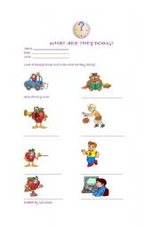 English Worksheets: Actions and Present Continous