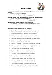 English Worksheet: Reporting Verbs