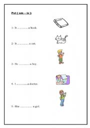 English Worksheets: am / is