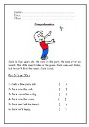 Comprehension worksheets for 1st class