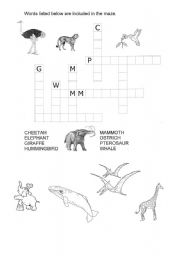 English Worksheets: Animals of today and the past
